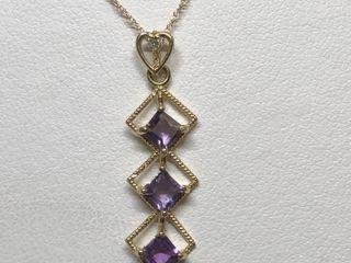 $1200 14K Amethyst 1 Diamond Necklace