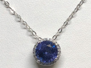 $5200 10K Tanzanite 24 Diamonds Necklace
