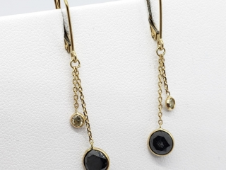 $2100 10K Black Diamond 2 White Dia Earrings