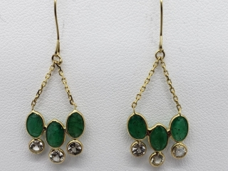 $2200 14K Emerald 6 Colorless Sapphire Earrings