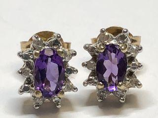 $1200 14K Amethyst  Diamond Earrings