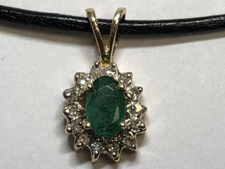 $800 14K Emerald 14 Dia Pendant