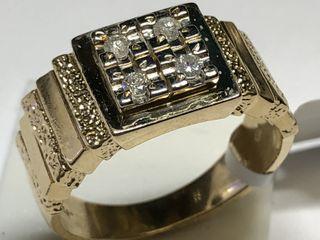 $4200 14K  Diamond 9.58Gm Men'S Ring