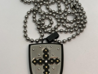 $400  Stainless Steel  Diamond Shield Necklace