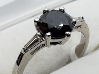 $2800 14K Black Dia Baguette Dia Ring