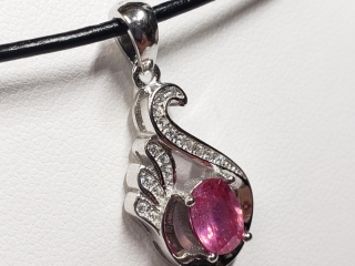$240 S/Sil Ruby CZ 5Gm Necklace