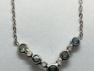 $5000 14K  Diamond Sapphire Necklace