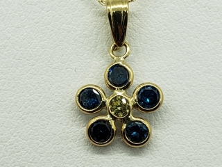 $2253 10K Blue Dia 1 Yellow Dia Necklace