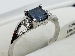 $2800 10K Blue Dia 2 White Dia Ring