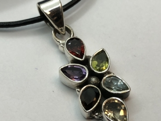 $220 S/Sil Multi-Color Genuine Gemstones Pendant