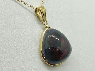 $1800 14k/10K Black Opal Necklace