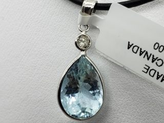 $2200 14K Aquamarine  Diamond Necklace