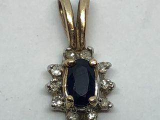 $600 10K  Diamond Sapphire Pendant