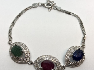 $300 S/Sil Ruby Emerald Sapphire Bracelet