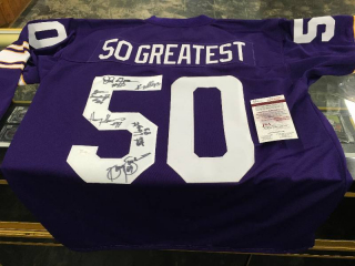 Minnesota Vikings Autographed 50 Greatest Jersey - Signed by 6 Vikings Players