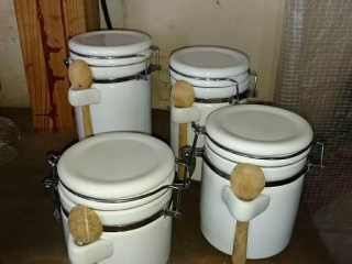 White canister set, 4-Piece with scoops