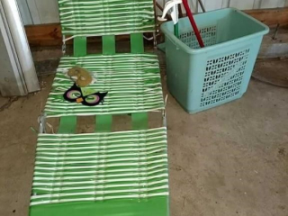 Lawn chair, hamper with mops
