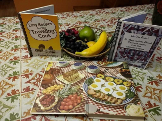 Fruit bowl with cookbooks