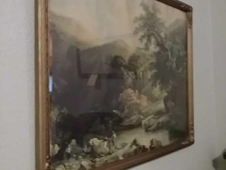 Antique ornate framed fishing picture