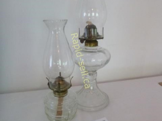2 Hurricane Glass Lamps