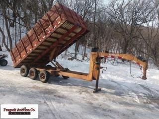 1974 Schuster Gooseneck Tri-Axle dump box trailer,