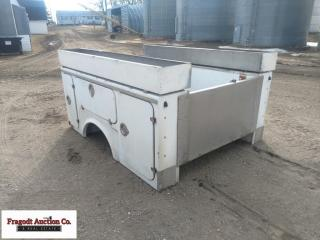 8? Fiberglass truck utility box with bumper. Item