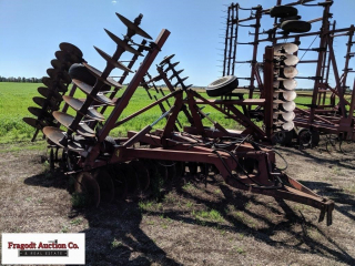 International 490 disk w/2 bar coil tine harrow, a