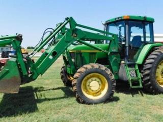 1997 John Deere 7410 MFW tractor w/John Deere 740