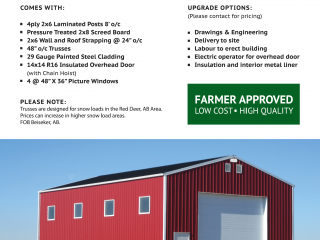 Post Frame 32 x 48 x 16 Farm Building Package OFFSITE UPDATED INFO