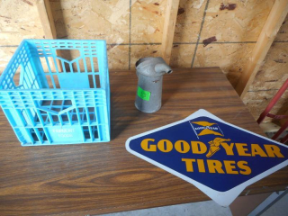 Goodyear Sign + Old Quart Container