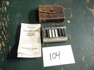 ANTIQUE GOLDEN GEM ADDING MACHINE 1907