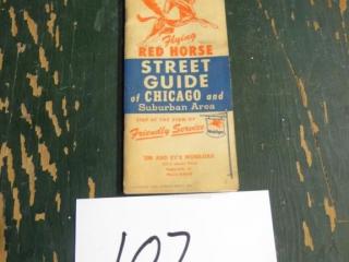 VTG MOBIL FLYING RED HORSE CHICAGO STREET MAP