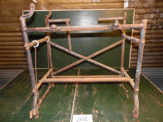 NEAT OLD INDUSTRIAL IRON TABLE BASE STAND
