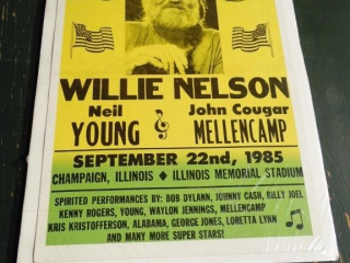 1985 FARM AID WILLIE NELSON ADVERTISING POSTER