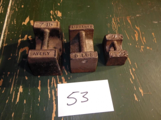 ANTIQUE CAST IRON SCALE WEIGHTS 2, 5, 7LB