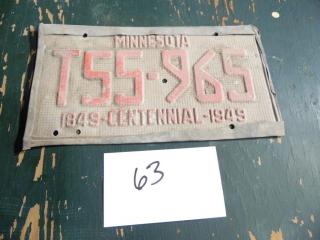 1849-1949 MINNESOTA CENTENNIAL LICENSE PLATE