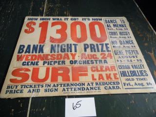VINTAGE SURF BALLROOM POSTER GENE PIEPER ORCH