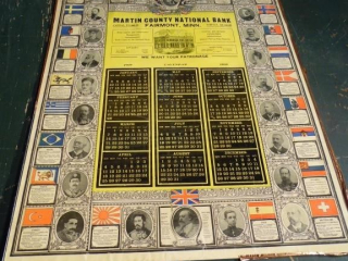 RARE 1909 MARTIN COUNTY NATIONAL BANK CALENDER