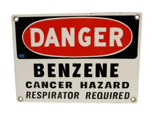 DANGER BENZENE CANCER HAZARD SSP SIGN