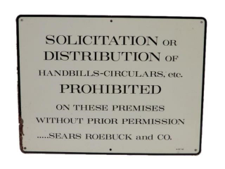 1961 SEARS, ROEBUCK NO SOLICITATION SSP SIGN