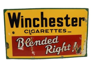 "WINCHESTER CIGARETTES ""BLENDED RIGHT!"" SSP SIGN"