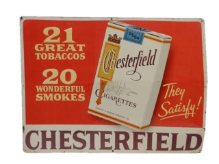 CHESTERFIELD CIGARETTES EMBOSSED SST SIGN