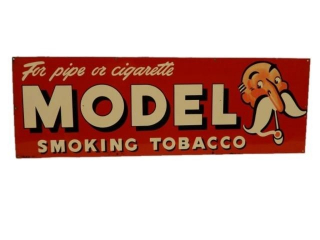 MODEL PIPE SMOKING TOBACCO S/S PAINTED METAL SIGN
