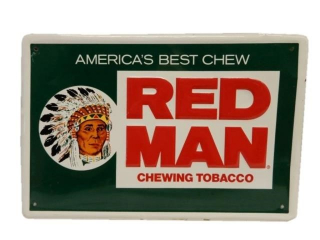 RED MAN CHEWING TOBACCO EMBOSSED SST SIGN