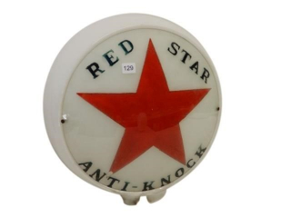 RARE RED STAR ANTI-KNOCK GAS PUMP GLOBE/ONE LENSE
