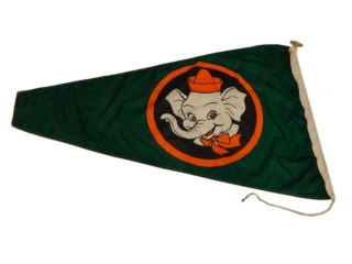 VINTAGE SAFETY ELEPHANT NYLON CLOTH FLAG