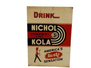 RARE 1941 DRINK NICHOL 5CENT KOLA  SST SIGN
