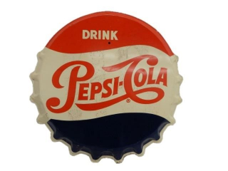 DRINK PEPSI-COLA  DIECUT SST BOTTLE CAP SIGN