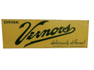 "1965 DRINK VERNORS""DELICIOUSLY DIFFERENT"" S/S SIGN"