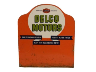 GM UNITED SERVICE DELCO MOTORS SST RACK TOP SIGN